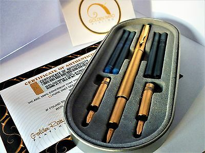 Genuine 24ct Gold Plated Parker Vector Calligraphy Set CT Fountain Pen-Fine Nib