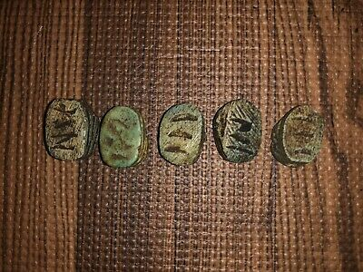 Five ( 5 ) Antique Egyptian Carved Stone Faience Scarab Beads Pendants 4