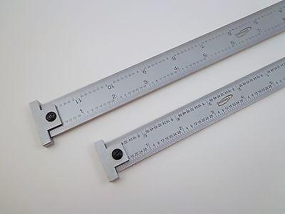 """Pair Igaging 12"""" & 6"""" machinist 4R hook ruler/rule 1/8, 1/16, 1/32, 1/64 grads 2"""
