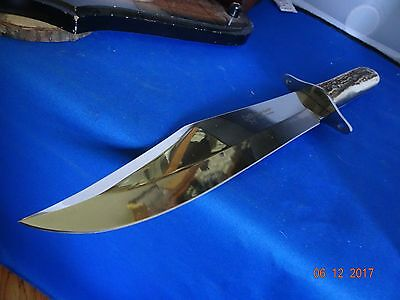 """Hen & Rooster Stag Handle Bowie Knife 15"""" Over-All With Leather Sheath A Beast"""