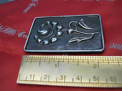 """Antique """"SOLID SILVER"""" Arts & Crafts EMBOSSED FLOWER BROOCH C Clasp 1.5"""" X 2.25"""" 6"""