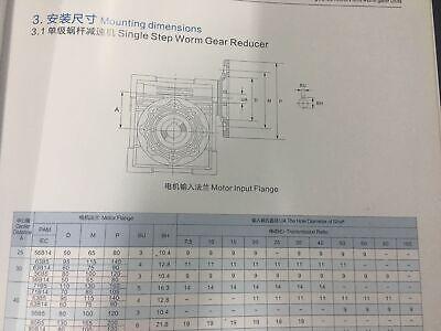 NMRV040 Worm Gearbox Gear Reducer 71B14 Ratio 10//20/25/30/40/50/60/80/100:1 9