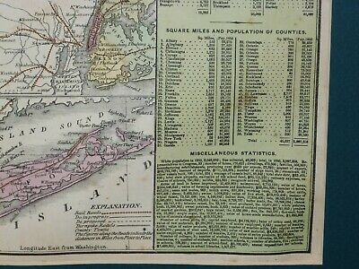 Large 1855 Hand-Colored Cowperthwait Map of New York w Census & Almanac Details! 4