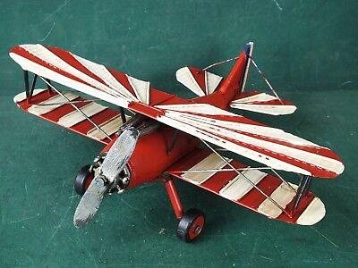 Blechspielzeug Großes Flugzeug Doppeldecker Rot Weiß drehbare Räder Propeller