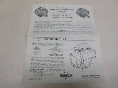 Used Briggs & Stratton Operating & Maintenance Instructions Models 190700-190707 2