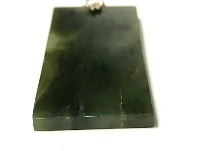 Vintage Asian Carved Jade Jadeite Gold Tone Pendant With Writing 5