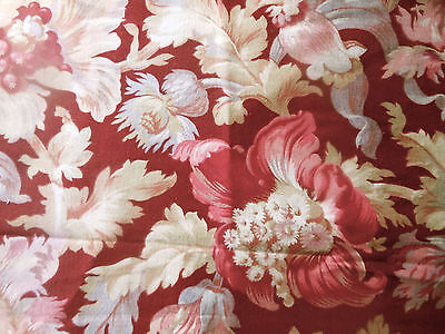 Vintage French Romantic Botanical Floral Toile Cotton Fabric ~ Burgundy Red