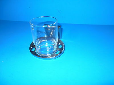 *Fontana Tooth Brush And Cup Holder With Glass Cup Satin Nickel 3