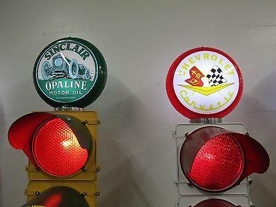 Large Traffic Light Gas Pump Globe Sign Pole Harley Coke OK Cars Corvette 6
