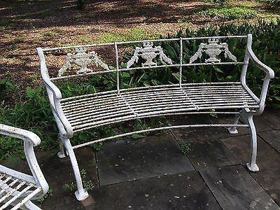 Rare 3 piece set Antique Neoclassical Cast Iron Garden Bench & chairs Victorian 5