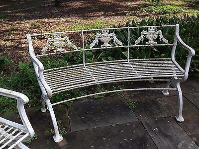 Rare 3 piece set Antique Neoclassical Cast Iron Garden Bench & chairs Victorian 5