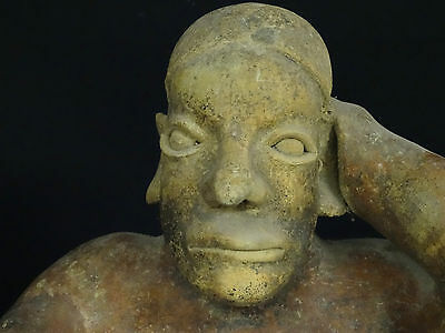 "Superb Pre-Columbian  Jalisco Ameca Style Seated Female Effigy Figure ~ 13"" H 4"