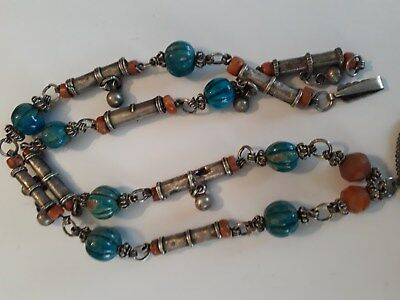 old Antique Vintage solid silver necklace ethnic coral, Egypt faience 1920s 6