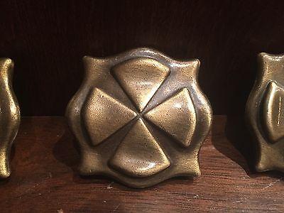 Three Vintage Bronze Drawer Pull Knobs Mid Century Brass Tone Celtic Square Knob 2 • CAD $38.60
