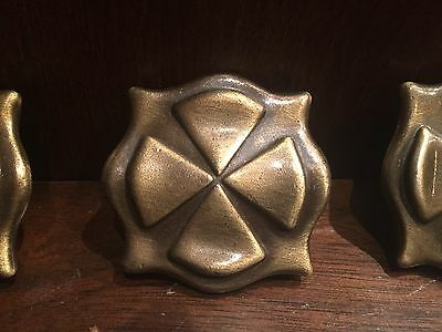 Three Vtg Bronze Drawer Pull Knobs Mid Century Brass Tone Celtic Square Knob MCM