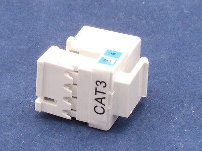 4 X Pcs CAT3 Keystone Jack RJ11 6P4C Phone Telephone RJ12 Modular White CAT 3