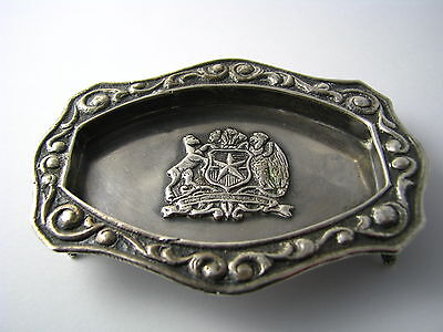 CHILEAN SOLID SILVER TRAY FOOTED ASHTRAY DISH 900 Silver Chile c1940s Excel Cond 2