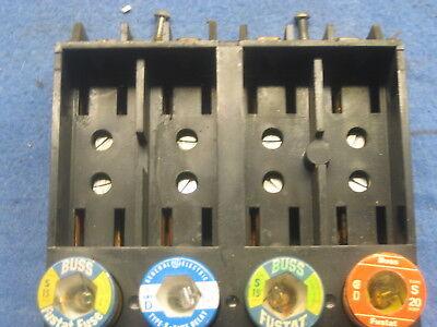 Heinemann D-21 Fuse Block Base 2 Side by Side 4 Screw in w/fuses (used)