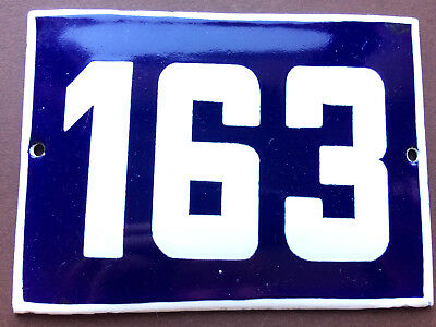 ANTIQUE VINTAGE EUROPEAN ENAMEL SIGN HOUSE NUMBER 163 DOOR GATE SIGN BLUE 1950's