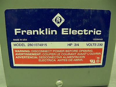 FRANKLIN ELECTRIC 1/2 HP 230V 2801074915 Submersible Motor Control on