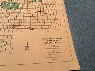 Vintage 1973 Tuscola County Michigan DNR Highway Recreation Information Map 2