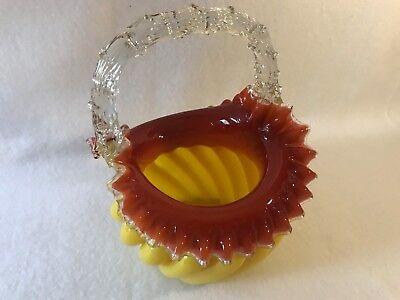 Antique Franz Welz-Czech Cased Glass Thorn Handled Basket 3