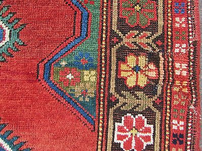 Antique Traditional Hand Made Caucasian Rug Red Green Wool Oriental Rug 142x99cm 7
