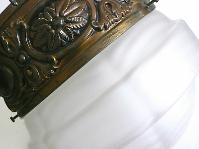 Antique 1900s Art Nouveau Frosted Glass Shade & Brass Chandelier Superb Chain 2
