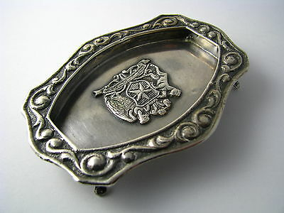 CHILEAN SOLID SILVER TRAY FOOTED ASHTRAY DISH 900 Silver Chile c1940s Excel Cond 4