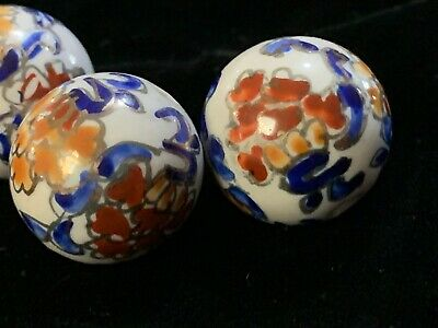 Hand Painted Porcelain Chinese Rare Vintage Bead Imari Colors 20mm Round 2