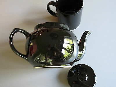 Vintage : Set of Glossy Black Teapot 32on. + one 8on. Cup 4