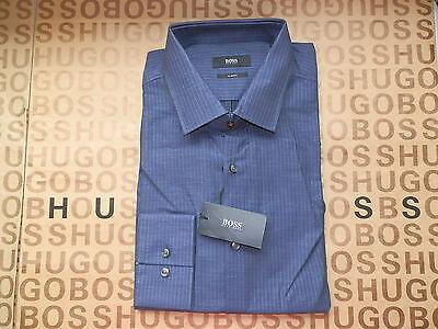 1 of 12 New Hugo Boss Mens Blue Easy Iron Jenno Cotton Formal Check Slim  Fit Shirt 16.5