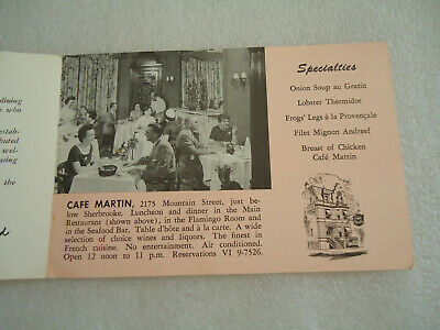 "Vintage Canada Postcard  Cafe Martin  ""When in Montreal"" 3"