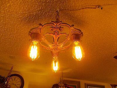 Stunning Art Deco 3 Bulb Ceiling Fixture 2