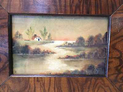 Antique Early 20th Century Signed / Monogrammed Watercolor Landscape Painting 2