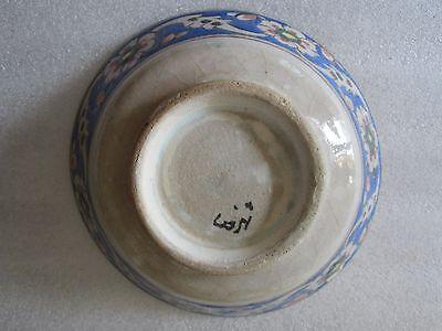 Beautiful Antique Iznik Turkish Ottoman Faience Pottery Hand Painted Bowl 6