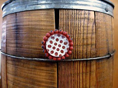 4 RED SUN FLOWER GLASS DRAWER CABINET PULLS KNOBS VINTAGE chic garden hardware 5
