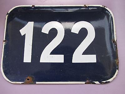 LARGE vintage ISRAELI enamel porcelain number 122 house sign # 122 3