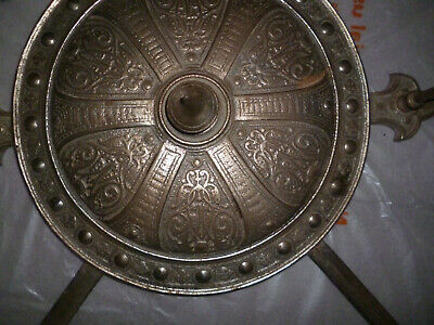 Rare Large decorative steel shield faux swords Arts&Crafts E&T Smith Sheffield 2