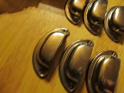 18 Bin Drawer cup Pulls door handles vintage rustic nickel steel 3