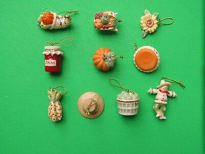 LENOX AUTUMN FAVORITES 10 miniature Tree Ornaments set NEW in BOX Thanksgiving 4