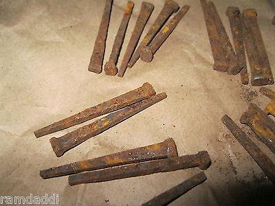 """1/2 LB Lot Vintage Cut Nails 2"""" 2 1/8"""" OLD VINTAGE ANTIQUE RUSTY NAILS about 50 4"""