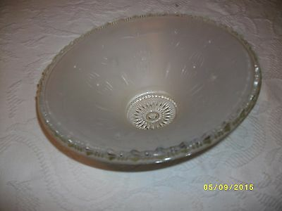 Vintage ceiling light fixture glass shade 3 hole mount drape pattern 6