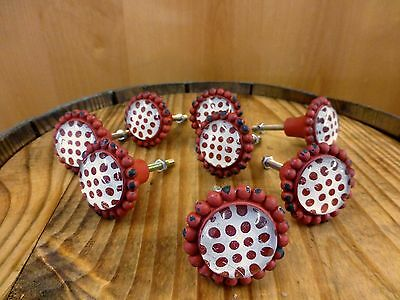 8 RED SUN FLOWER GLASS DRAWER CABINET PULLS KNOBS VINTAGE chic garden hardware