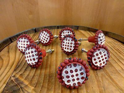 8 RED SUN FLOWER GLASS DRAWER CABINET PULLS KNOBS VINTAGE chic garden hardware 2