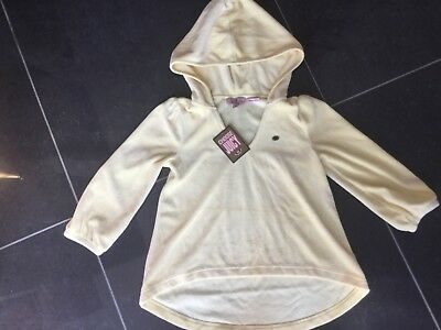 NWT Juicy Couture New Genuine Girls Age 10 Yellow Velour Hoody With Juicy Logos 3