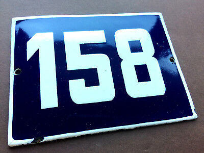 ANTIQUE VINTAGE EUROPEAN ENAMEL SIGN HOUSE NUMBER 158 DOOR GATE SIGN BLUE 1950's 2