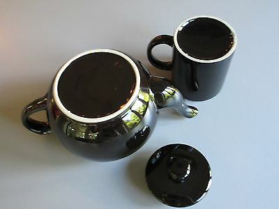 Vintage : Set of Glossy Black Teapot 32on. + one 8on. Cup 5