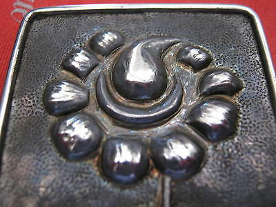 """Antique """"SOLID SILVER"""" Arts & Crafts EMBOSSED FLOWER BROOCH C Clasp 1.5"""" X 2.25"""" 2"""