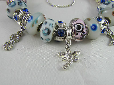 """SWEET 925 STAMPED SILVER 20cm EUROPEAN STYLE CHARM BRACELET """" MERRY PLAYGROUND """" 5"""